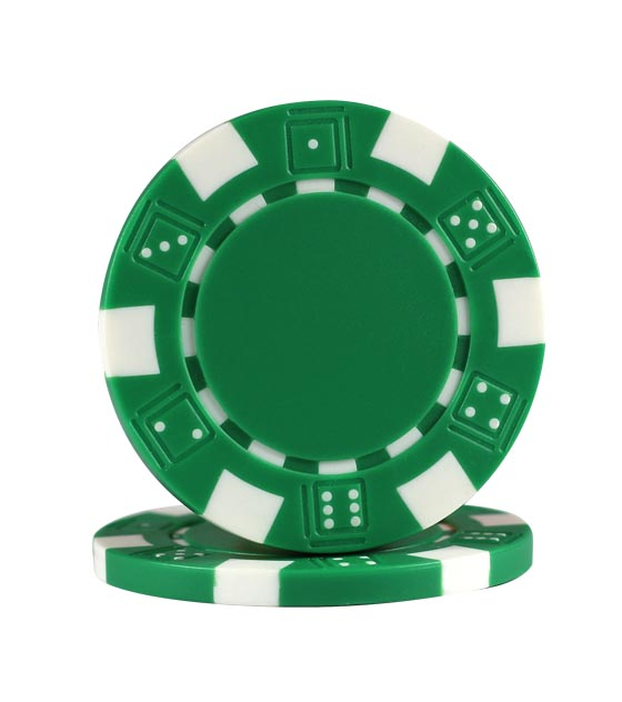 Dice chips green, roll of 25