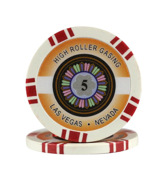 High Roller chip red (5), roll of 25