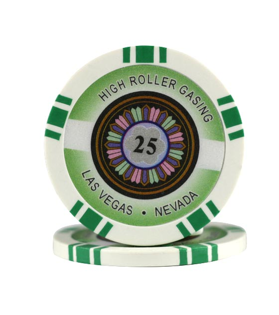High Roller chip green (25), roll of 25