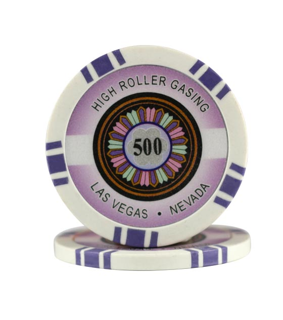 High Roller chip purple (500), roll of 25