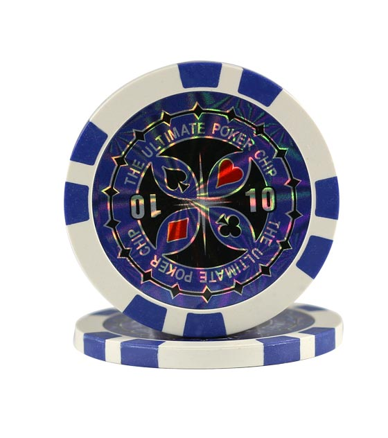 Ultimate Poker chip blue (10), roll of 25