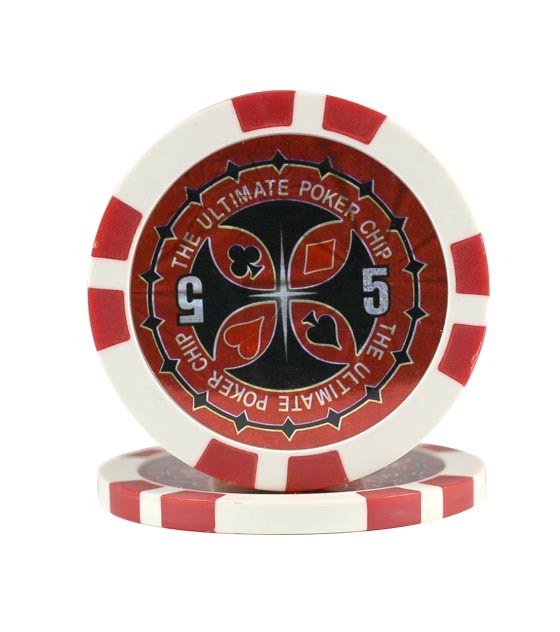 Ultimate Poker chip red (5), roll of 25