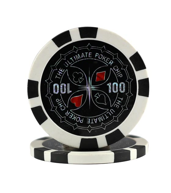 Ultimate Poker chip black (100), roll of 25