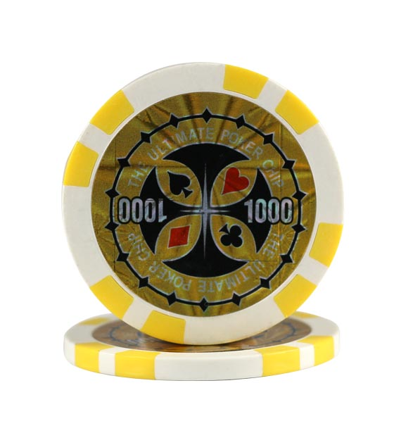 Ultimate Poker chip yellow (1000), roll of 25
