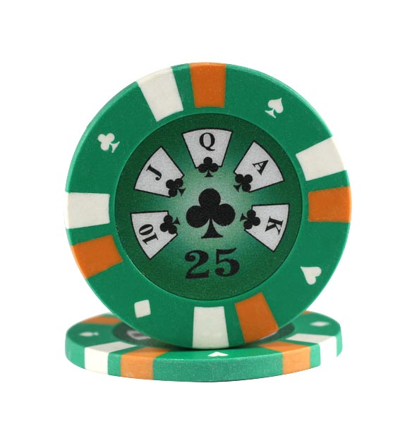 3-color clay chip green (25), roll of 25
