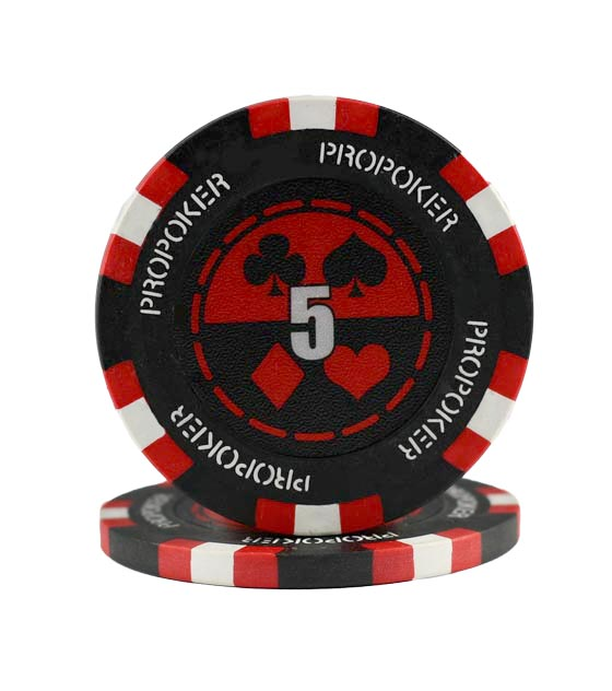 Pro Poker clay chip red (5), roll of 25