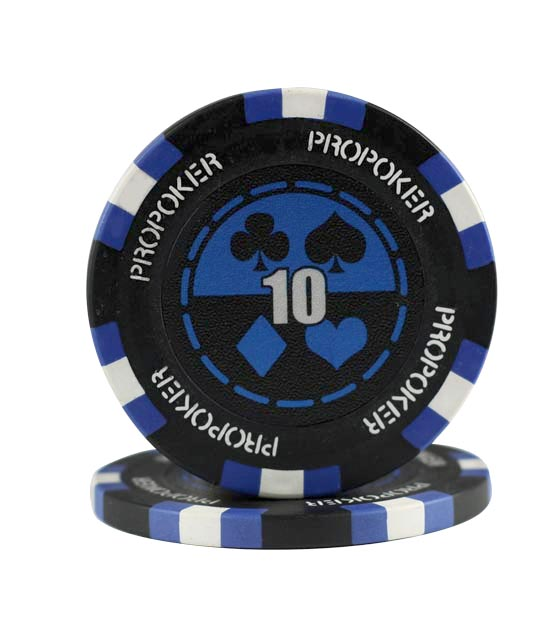 Pro Poker clay chip blue (10), roll of 25