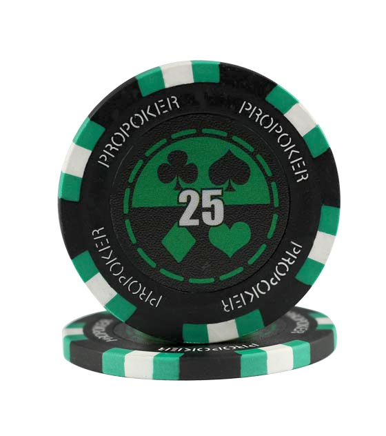 Pro Poker chip green (25), roll of 25