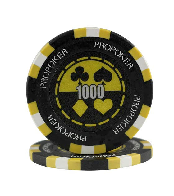 Pro Poker clay chip yellow (1000), roll of 25