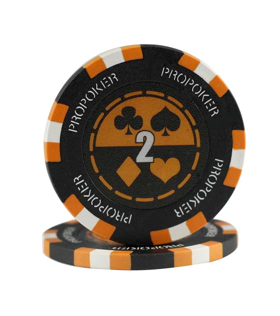 Pro Poker clay chip orange (2), roll of 25