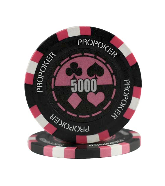 Pro Poker clay chip pink (5000), roll of 25