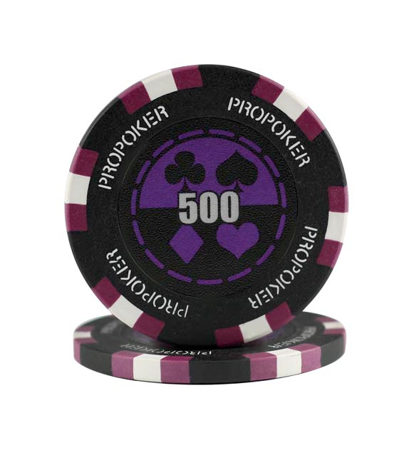 Pro Poker clay chip purple (500), roll of 25
