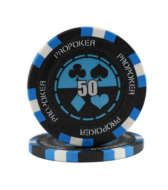 Pro Poker clay chip light blue (50, roll of 25