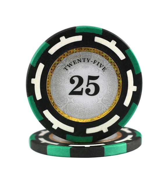 Clear Vision clay chip green (25), roll of 25