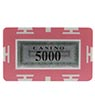 Rectangle Poker Chip with Value - 5000, Pink