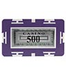 Rectangle Poker Chip with Value - 500, Purple