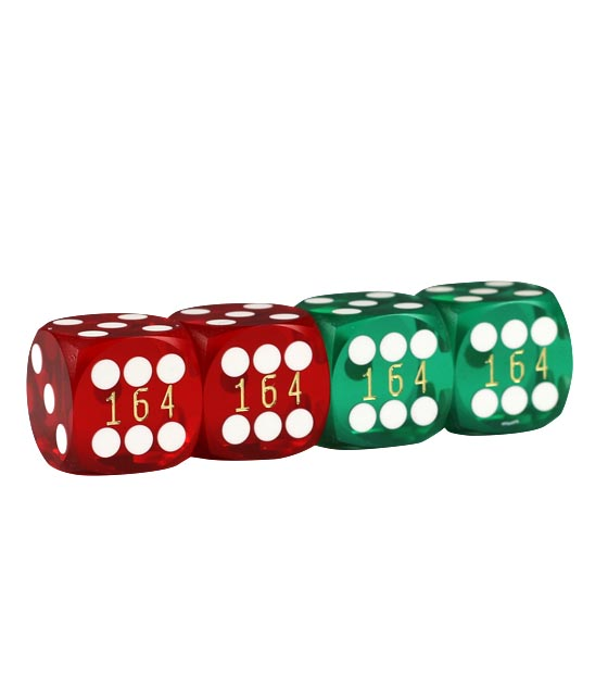 Precision Dice 16 mm  set of 4 – Red/Green