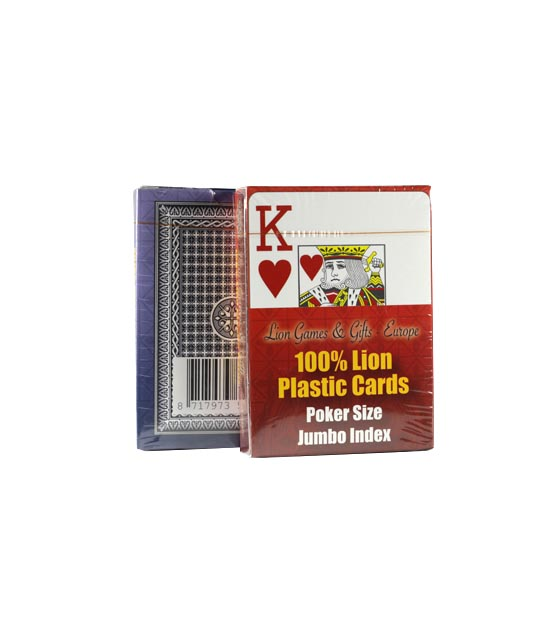 100% Lion Plastic Cards Jumbo index Single Deck