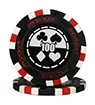 Pro Poker clay chip black (100), roll of 25