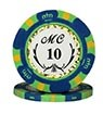 Monte Carlo clay chip blue (10), roll of 25